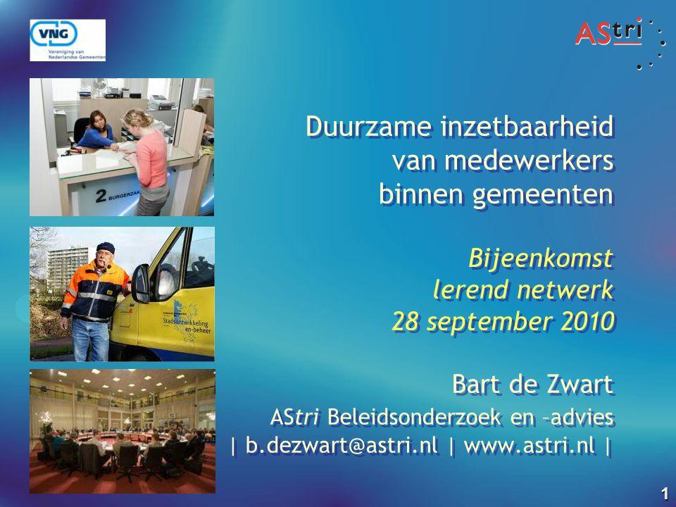Duurzame inzetbaarheid van medewerkers binnen gemeenten Bijeenkomst lerend netwerk 28 september 2010 Bart de Zwart AStri Beleidsonderzoek en –advies | b.dezwart@astri.nl | www.astri.nl |