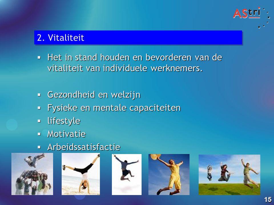 2. Vitaliteit Het in stand houden en bevorderen van de vitaliteit van individuele werknemers. Gezondheid en welzijn.