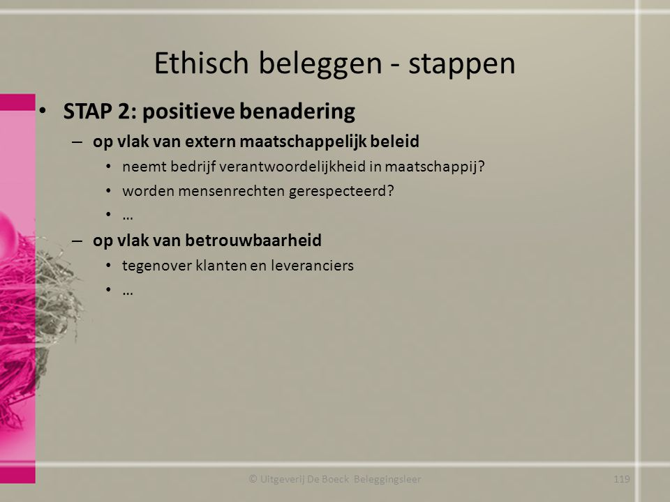 Ethisch beleggen - stappen