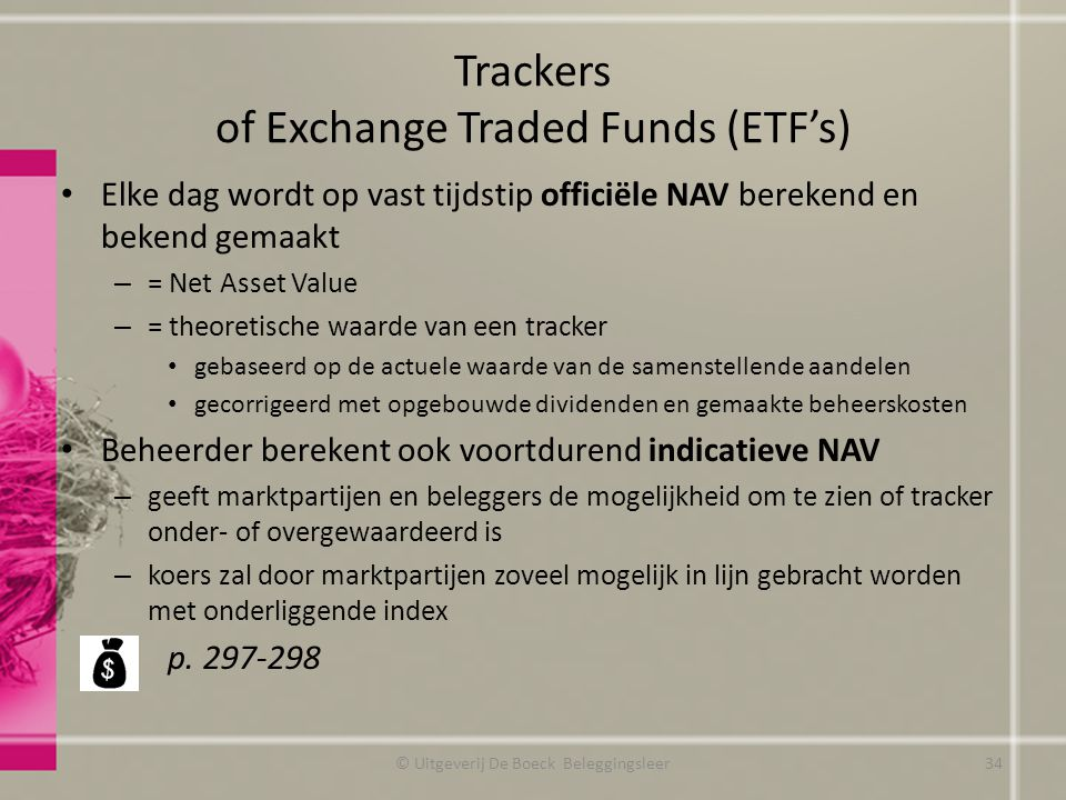 Trackers of Exchange Traded Funds (ETF's)
