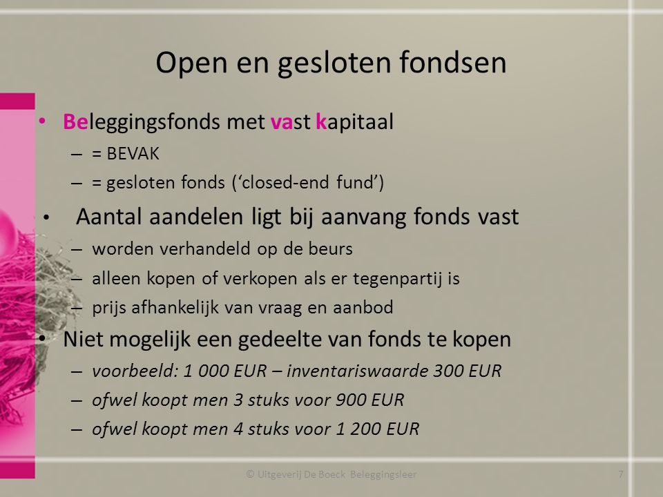 Open en gesloten fondsen