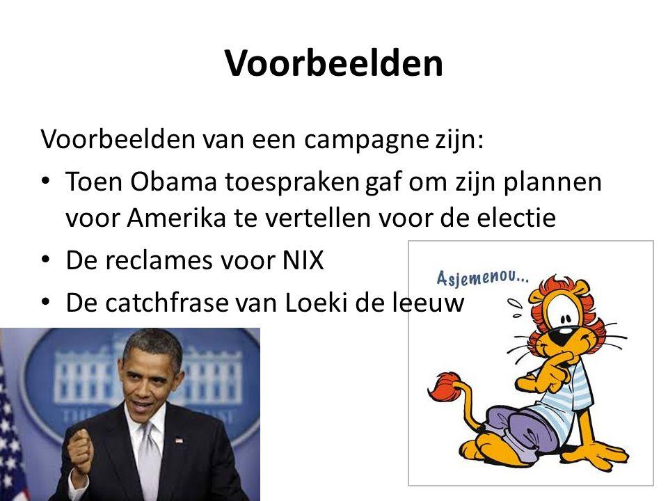 Voorbeelden Voorbeelden van een campagne zijn: