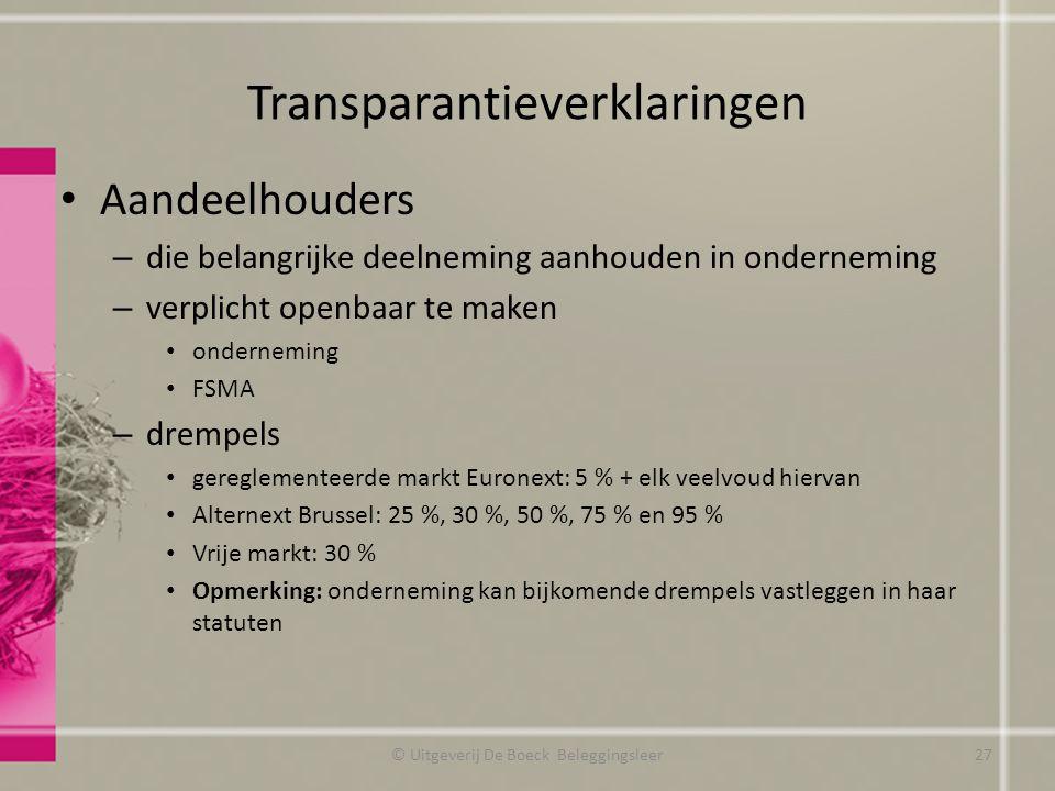 Transparantieverklaringen