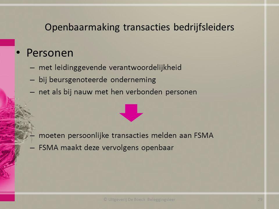 Openbaarmaking transacties bedrijfsleiders