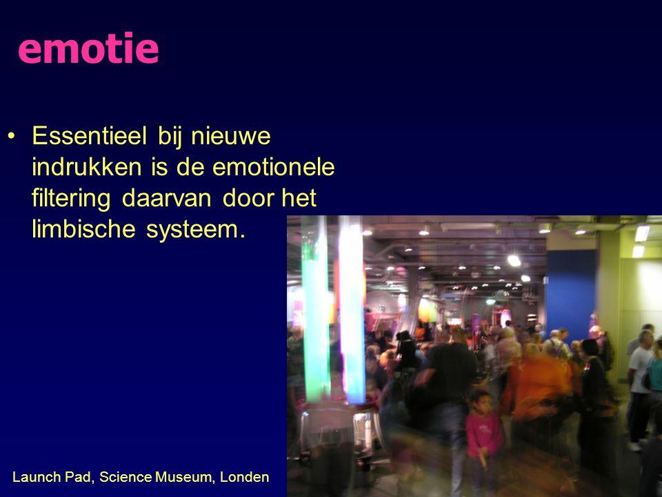 emotie Essentieel bij nieuwe indrukken is de emotionele filtering daarvan door het limbische systeem.