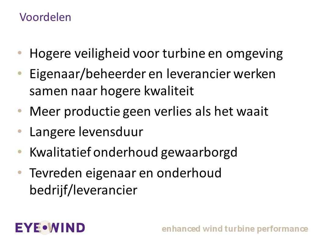 Hogere veiligheid voor turbine en omgeving