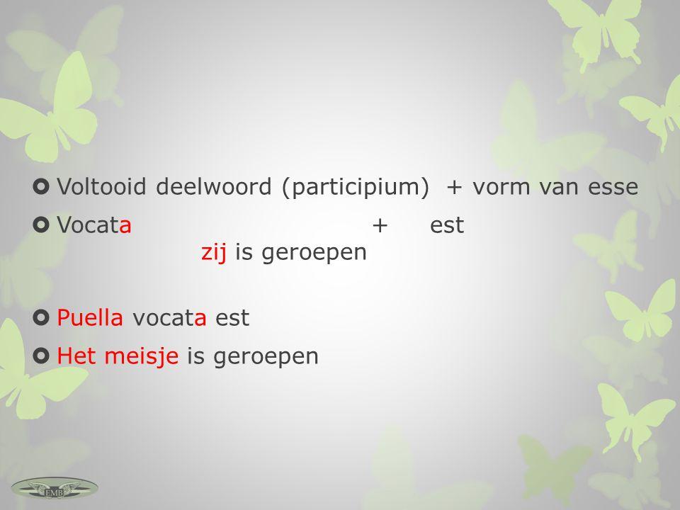 Voltooid deelwoord (participium) + vorm van esse