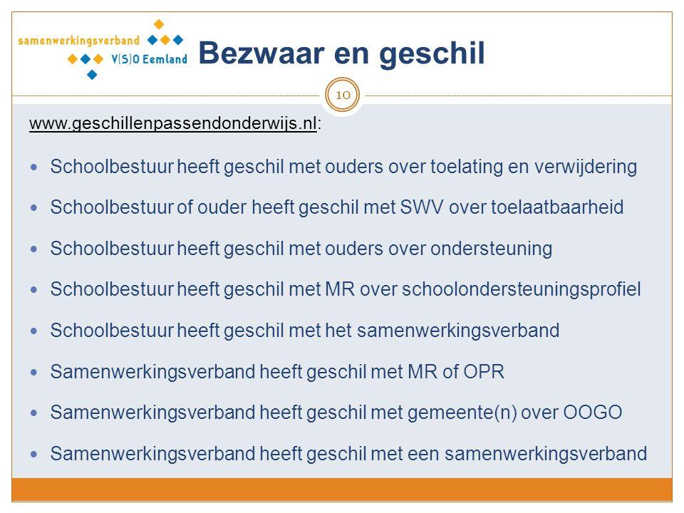 Bezwaar en geschil www.geschillenpassendonderwijs.nl: Schoolbestuur heeft geschil met ouders over toelating en verwijdering.