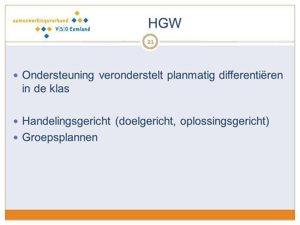 HGW Ondersteuning veronderstelt planmatig differentiëren in de klas