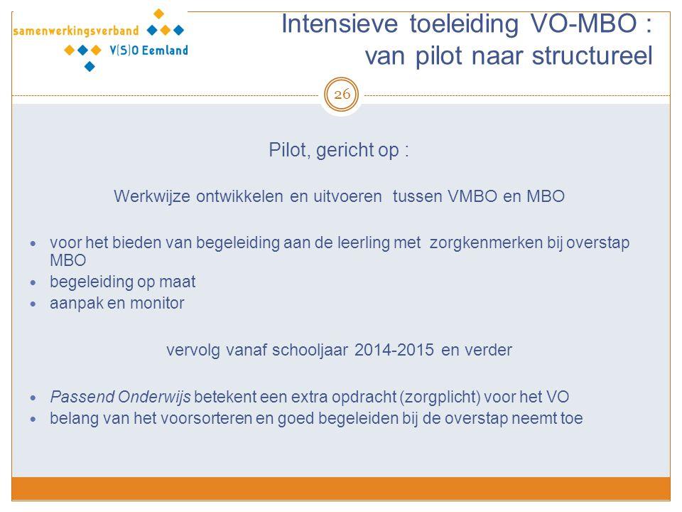 Intensieve toeleiding VO-MBO : van pilot naar structureel
