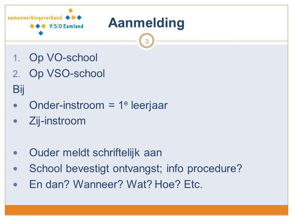 Aanmelding Op VO-school Op VSO-school Bij Onder-instroom = 1e leerjaar