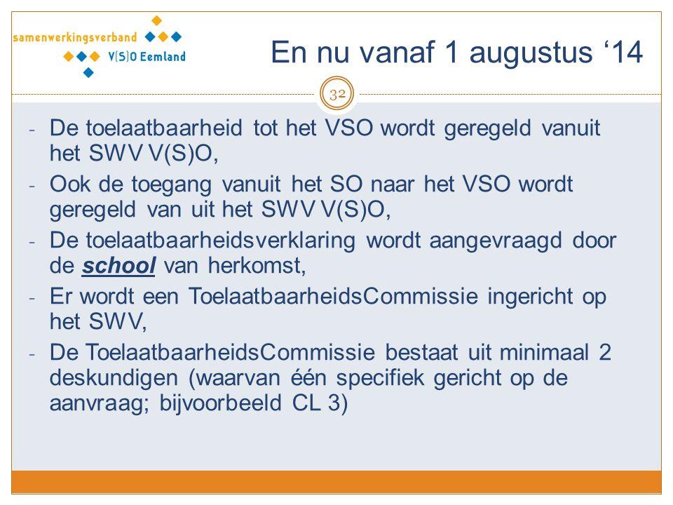 En nu vanaf 1 augustus '14 De toelaatbaarheid tot het VSO wordt geregeld vanuit het SWV V(S)O,