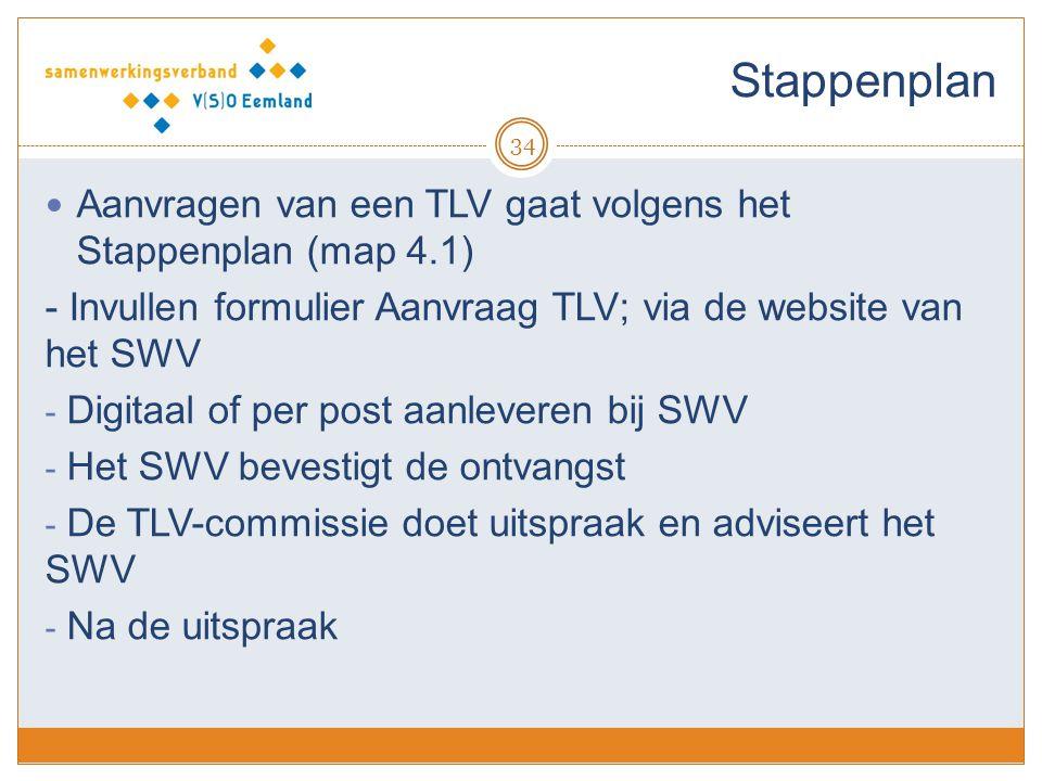 Stappenplan Aanvragen van een TLV gaat volgens het Stappenplan (map 4.1) - Invullen formulier Aanvraag TLV; via de website van het SWV.
