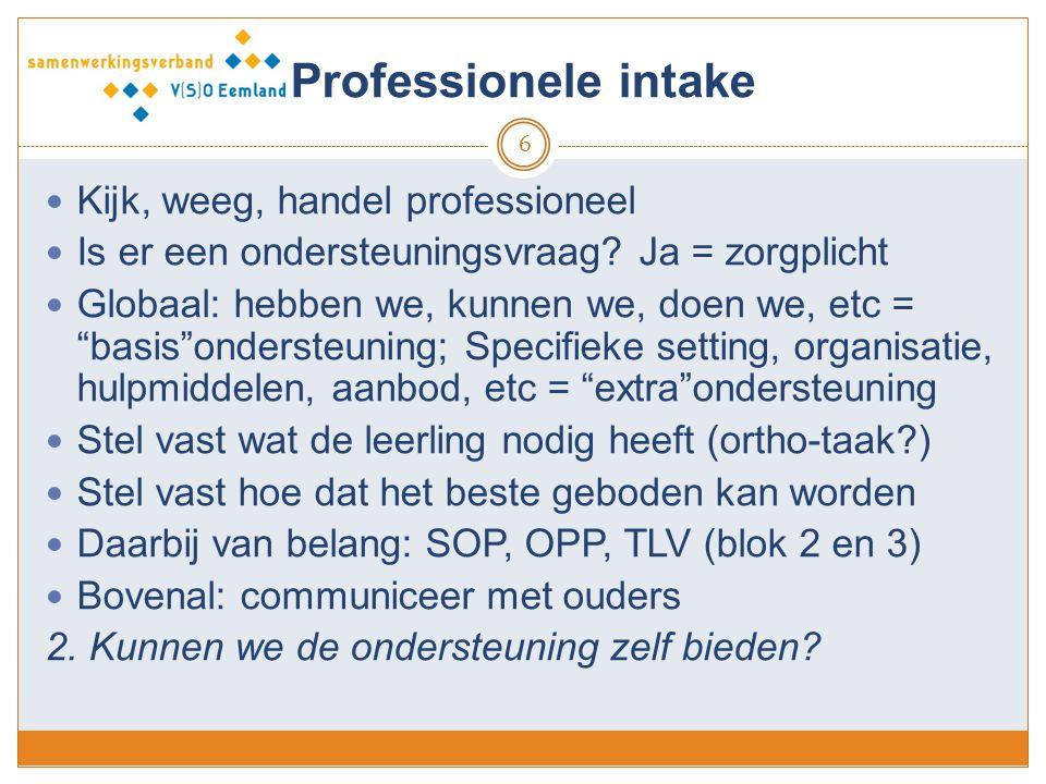 Professionele intake Kijk, weeg, handel professioneel