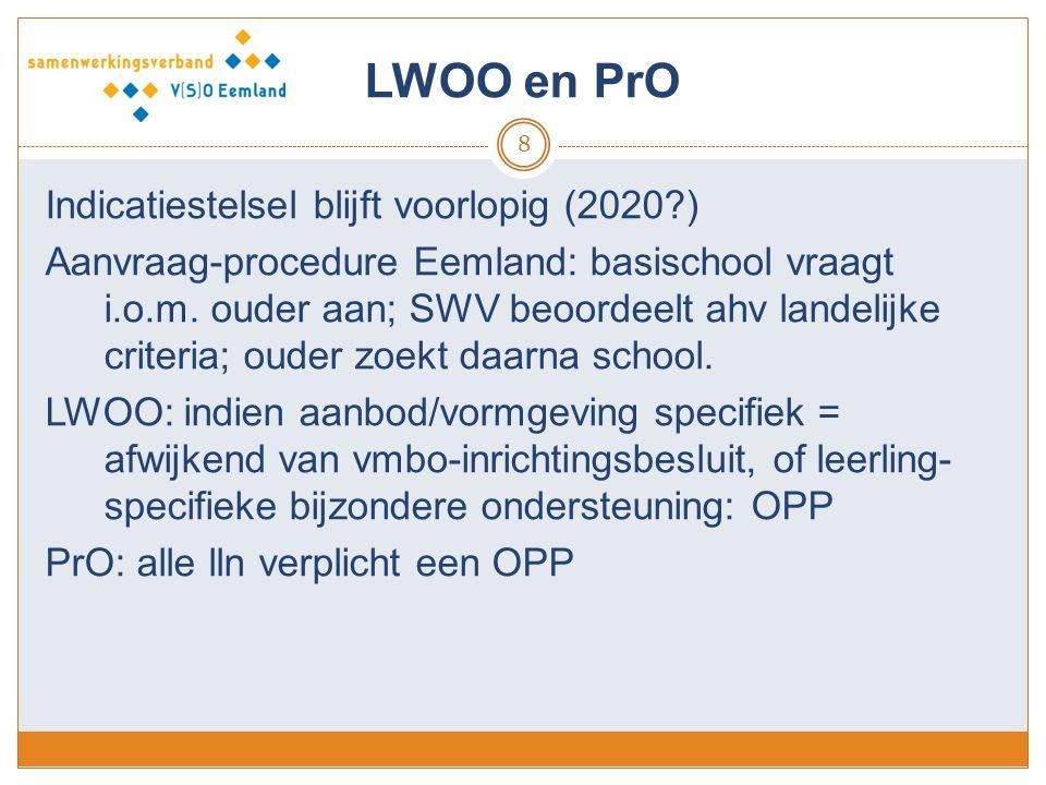 LWOO en PrO Indicatiestelsel blijft voorlopig (2020 )