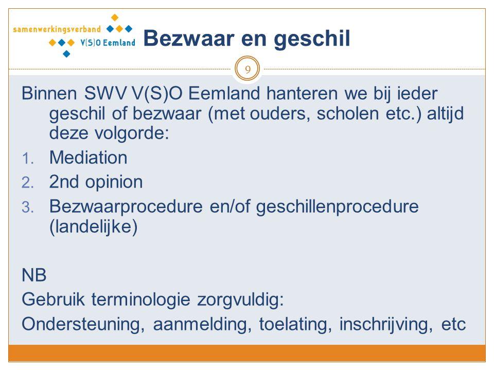 Bezwaar en geschil Binnen SWV V(S)O Eemland hanteren we bij ieder geschil of bezwaar (met ouders, scholen etc.) altijd deze volgorde:
