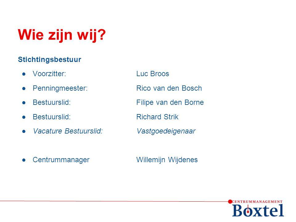 Wie zijn wij Stichtingsbestuur Voorzitter: Luc Broos