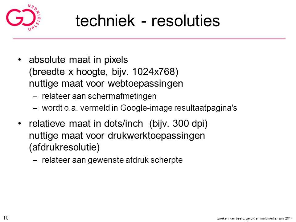 techniek - resoluties absolute maat in pixels