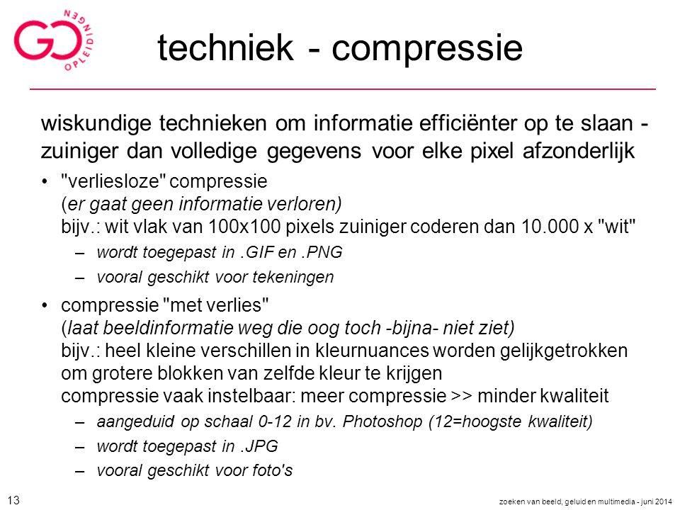 techniek - compressie wiskundige technieken om informatie efficiënter op te slaan - zuiniger dan volledige gegevens voor elke pixel afzonderlijk.
