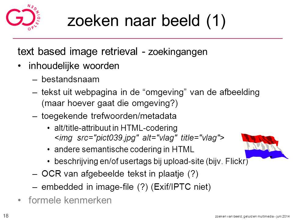 zoeken naar beeld (1) text based image retrieval - zoekingangen