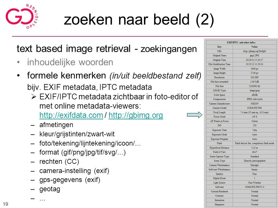 zoeken naar beeld (2) text based image retrieval - zoekingangen