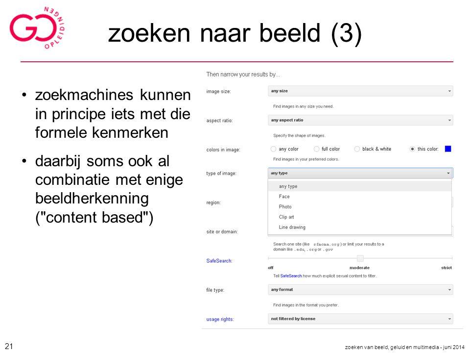 zoeken naar beeld (3) zoekmachines kunnen in principe iets met die formele kenmerken.