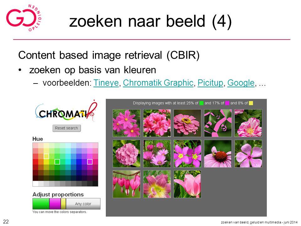 zoeken naar beeld (4) Content based image retrieval (CBIR)
