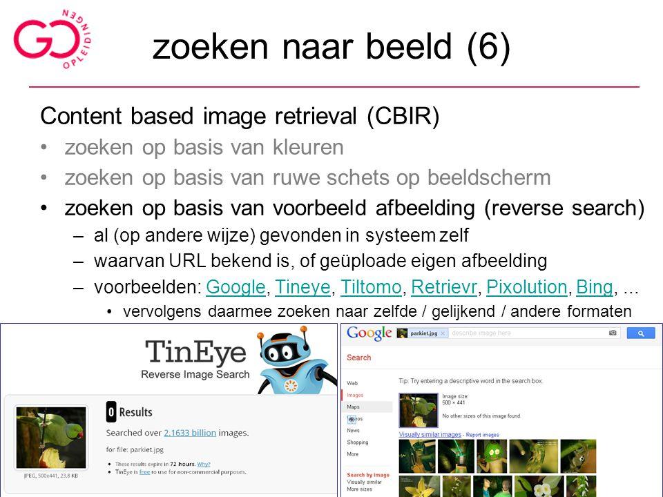 zoeken naar beeld (6) Content based image retrieval (CBIR)
