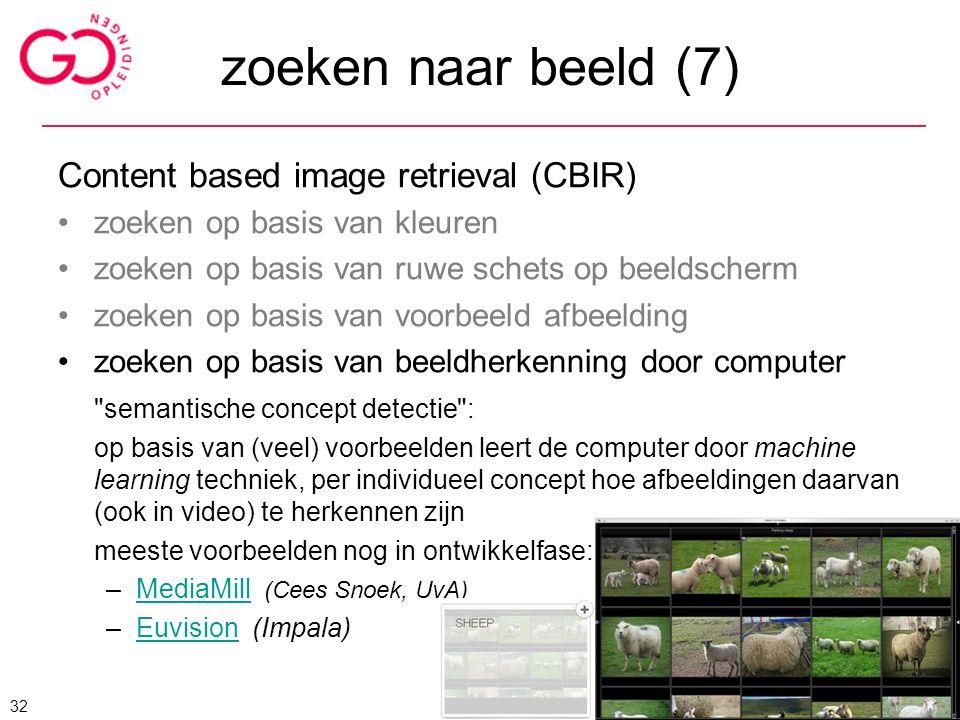 zoeken naar beeld (7) Content based image retrieval (CBIR)