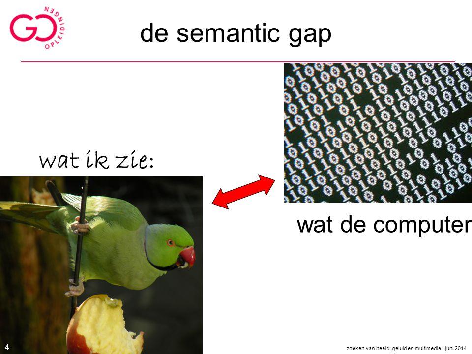 de semantic gap wat ik zie: wat de computer ziet 4