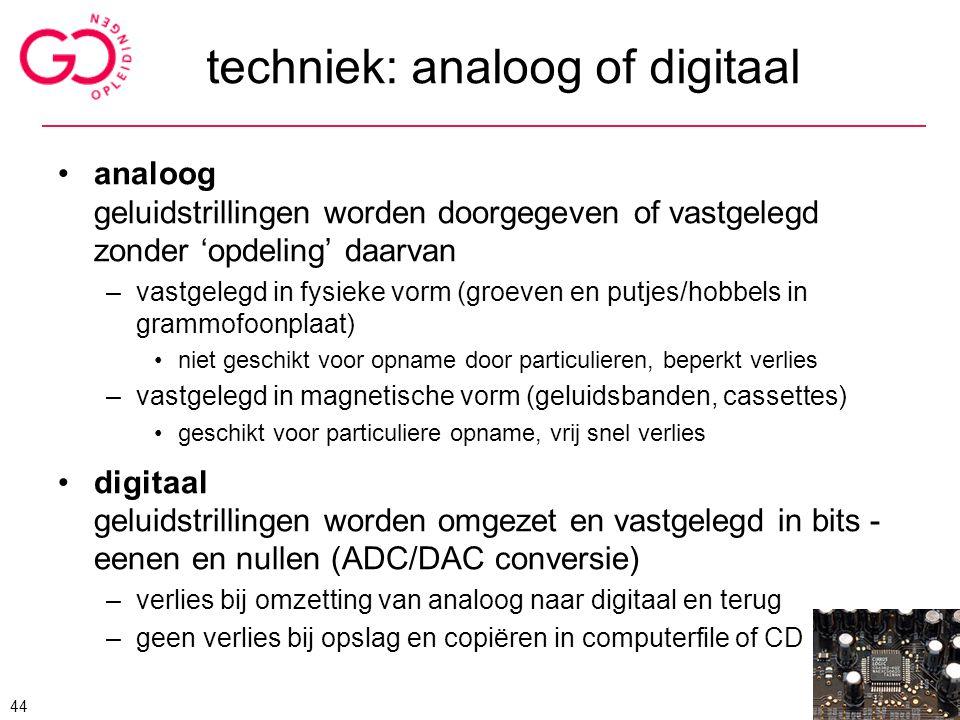 techniek: analoog of digitaal