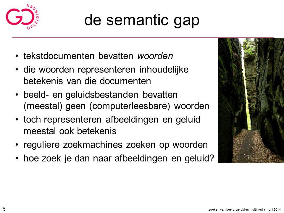 de semantic gap tekstdocumenten bevatten woorden