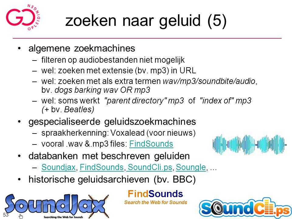 zoeken naar geluid (5) algemene zoekmachines