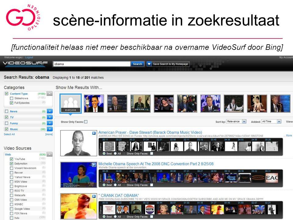 scène-informatie in zoekresultaat