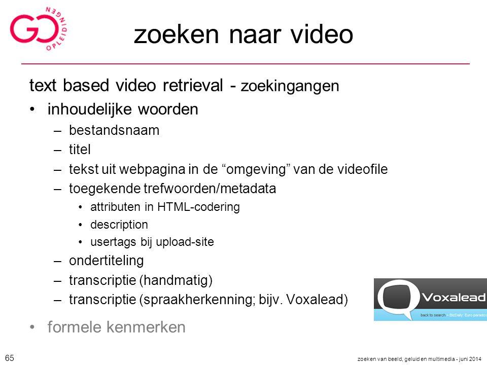 zoeken naar video text based video retrieval - zoekingangen