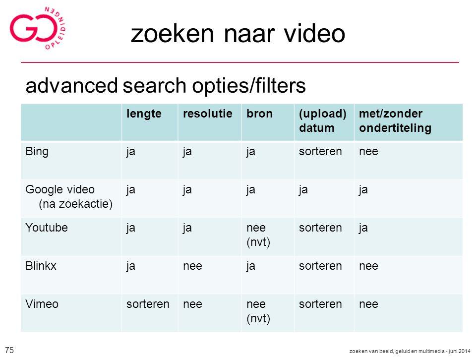 zoeken naar video advanced search opties/filters lengte resolutie bron
