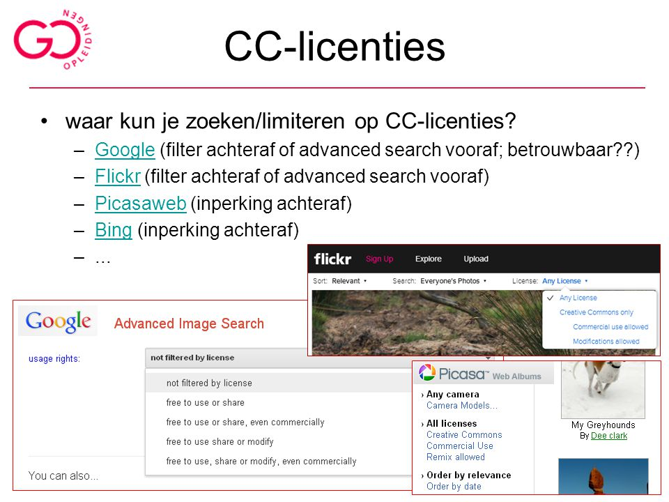 CC-licenties waar kun je zoeken/limiteren op CC-licenties