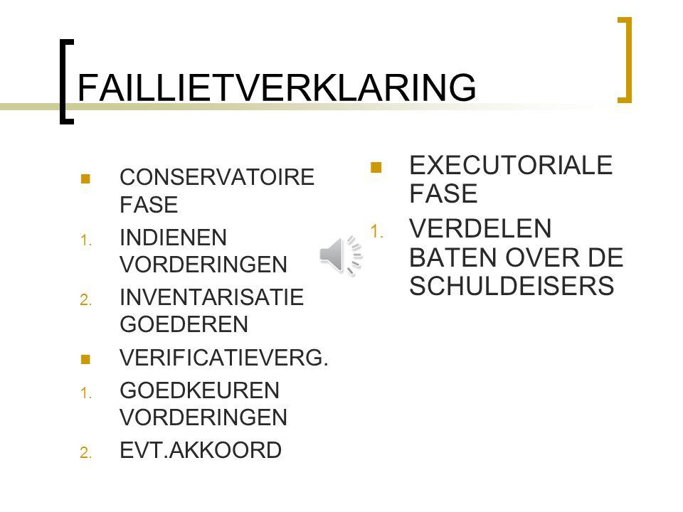 FAILLIETVERKLARING EXECUTORIALE FASE