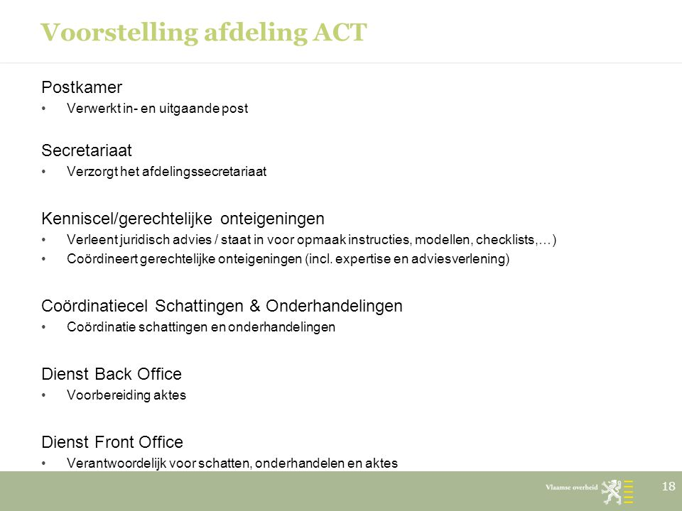 Voorstelling afdeling ACT
