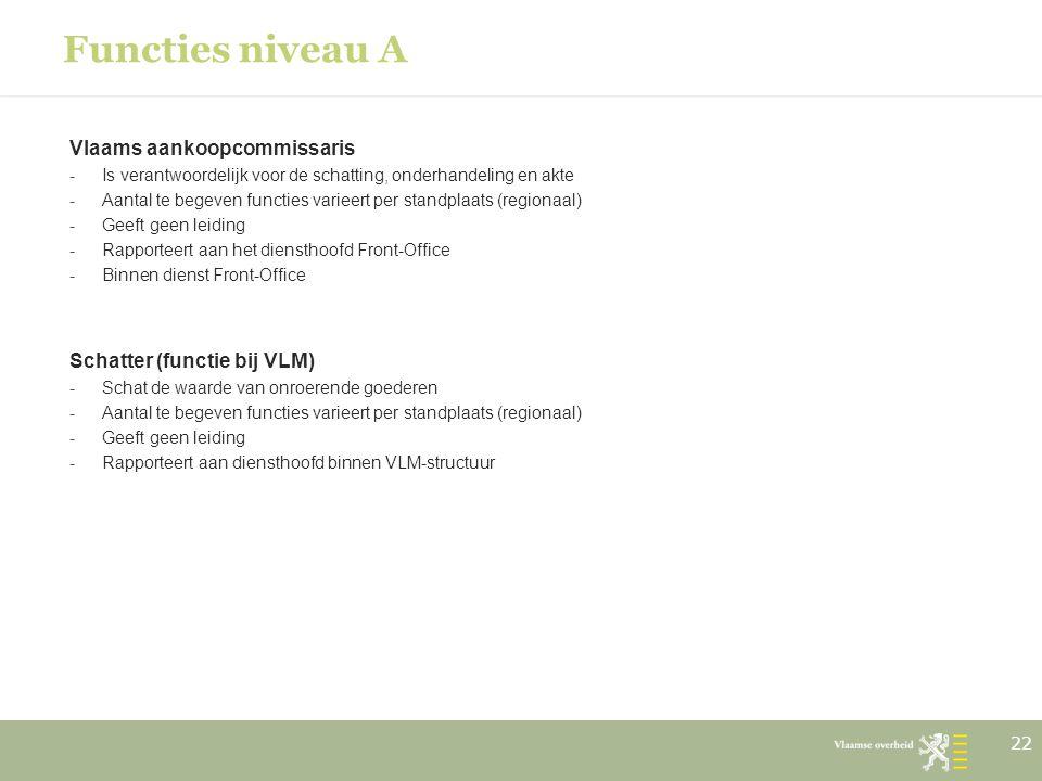 Functies niveau A Vlaams aankoopcommissaris Schatter (functie bij VLM)