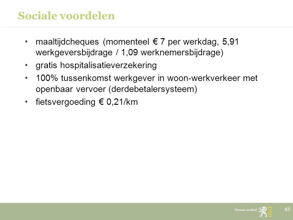 Sociale voordelen maaltijdcheques (momenteel € 7 per werkdag, 5,91 werkgeversbijdrage / 1,09 werknemersbijdrage)