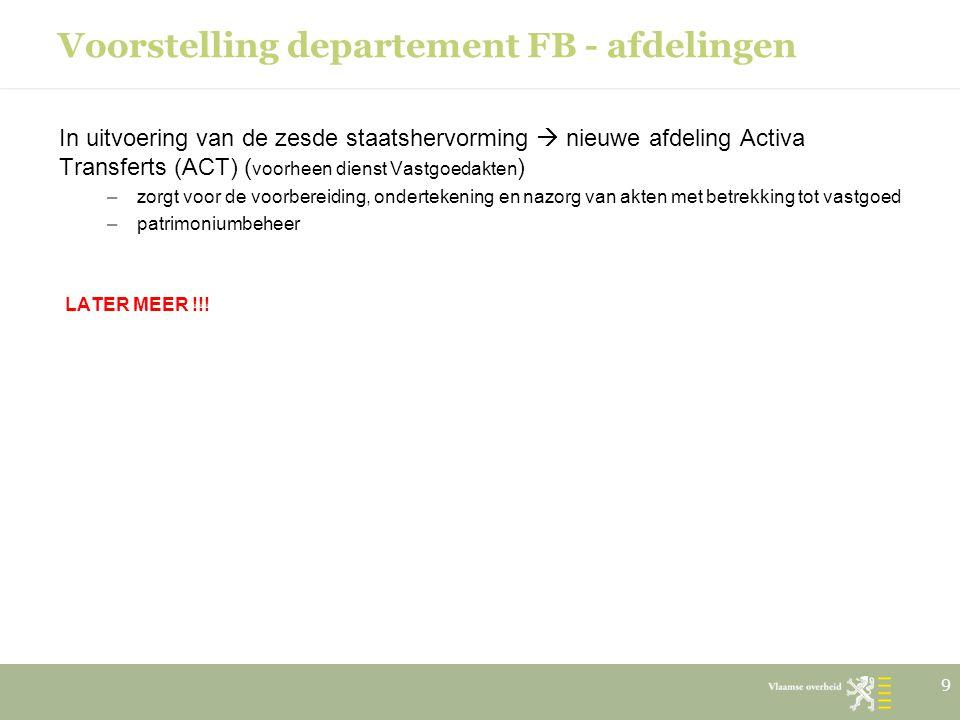 Voorstelling departement FB - afdelingen
