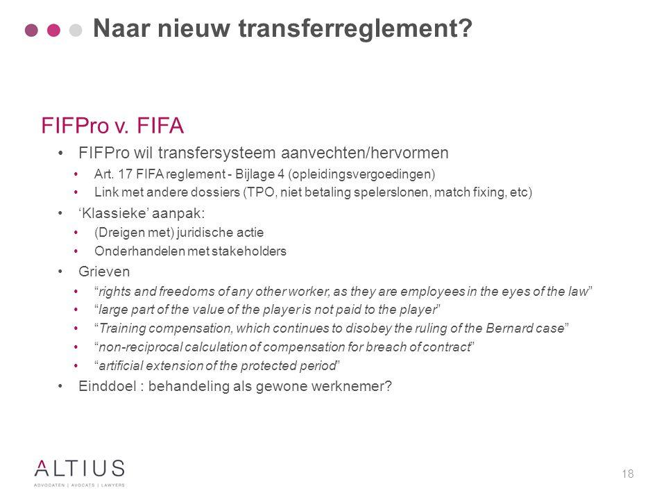 Naar nieuw transferreglement