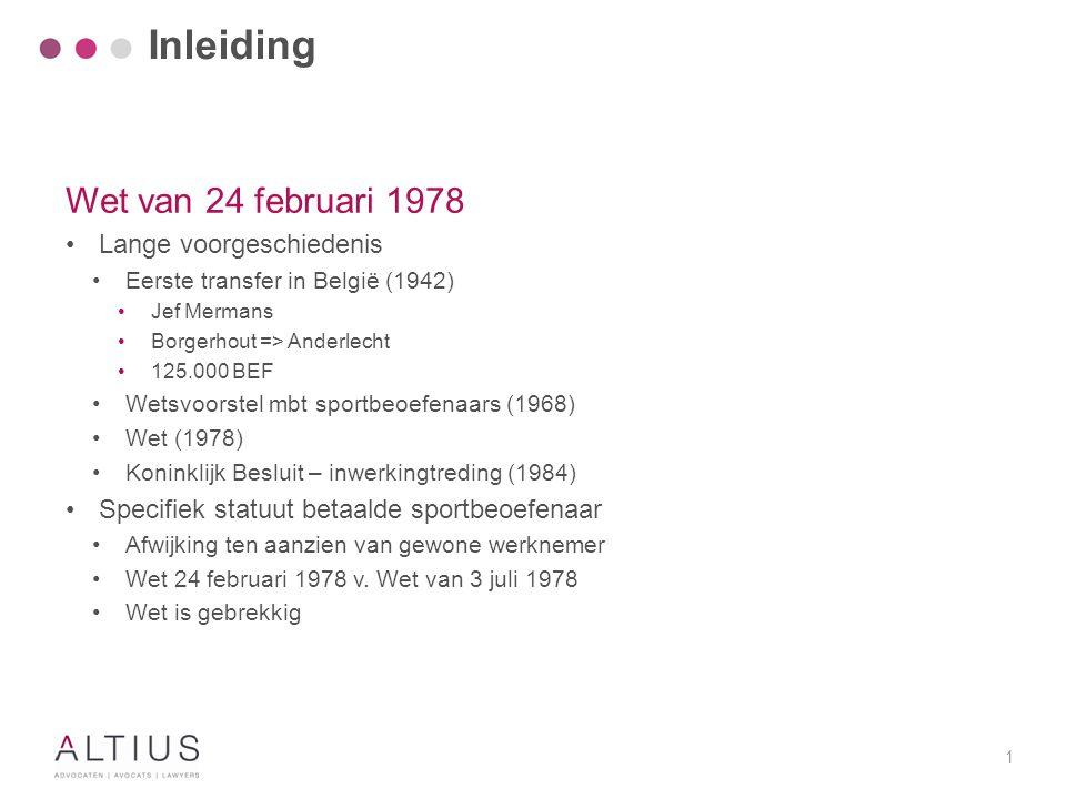 Inleiding Wet van 24 februari 1978 Specifieke beëindigingsregels