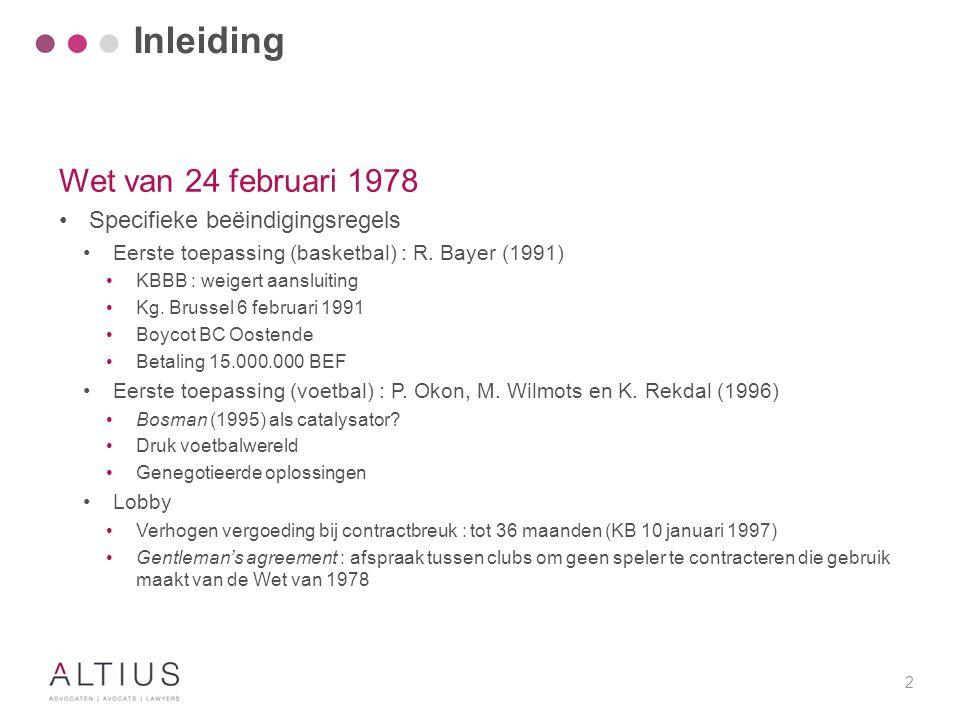 Inleiding Wet van 24 februari 1978 Andere Nieuwe precedenten