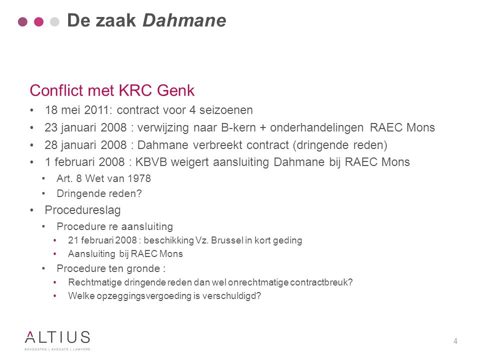 De zaak Dahmane Procedure ten gronde 25 mei 2009 : Arbrb. Tongeren