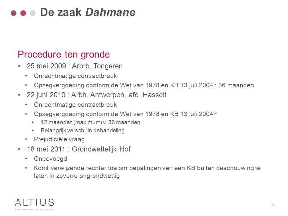 De zaak Dahmane Procedure ten gronde
