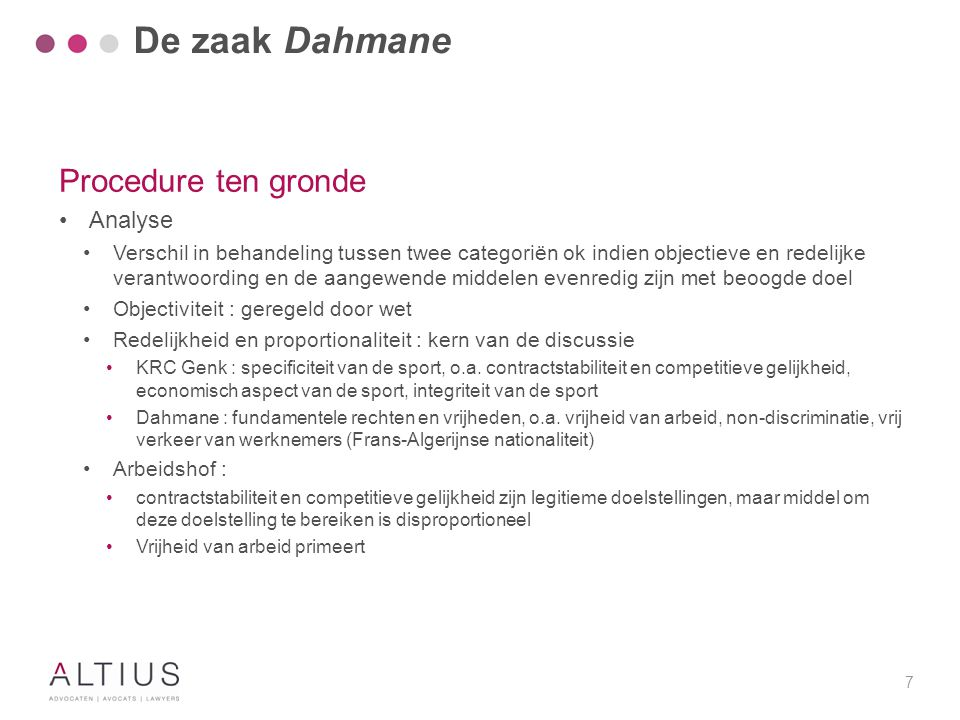 De zaak Dahmane Procedure ten gronde Concreet KB discrimineert