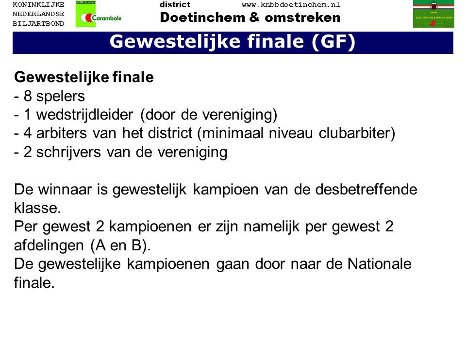 Gewestelijke finale (GF)