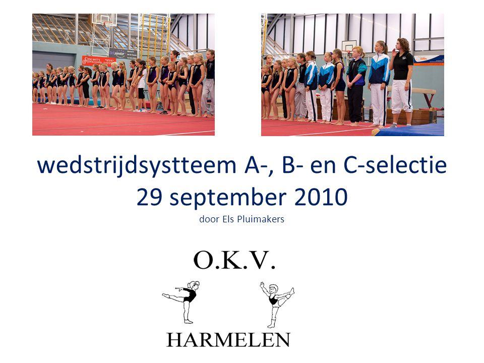 wedstrijdsystteem A-, B- en C-selectie 29 september 2010 door Els Pluimakers
